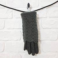 Перчатки женские из шерсти темно-серый