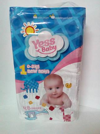 Подгузники Yess Baby Super 1 New Born 0-3кг (48 шт) (4964), фото 2