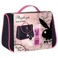 Женский набор Playboy «PLAY IT SEXY» туалетная вода 75 мл + гель для душа 250 мл в косметичке!