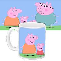 Детская чашка с принтом Мультфильм Семья Пеппы