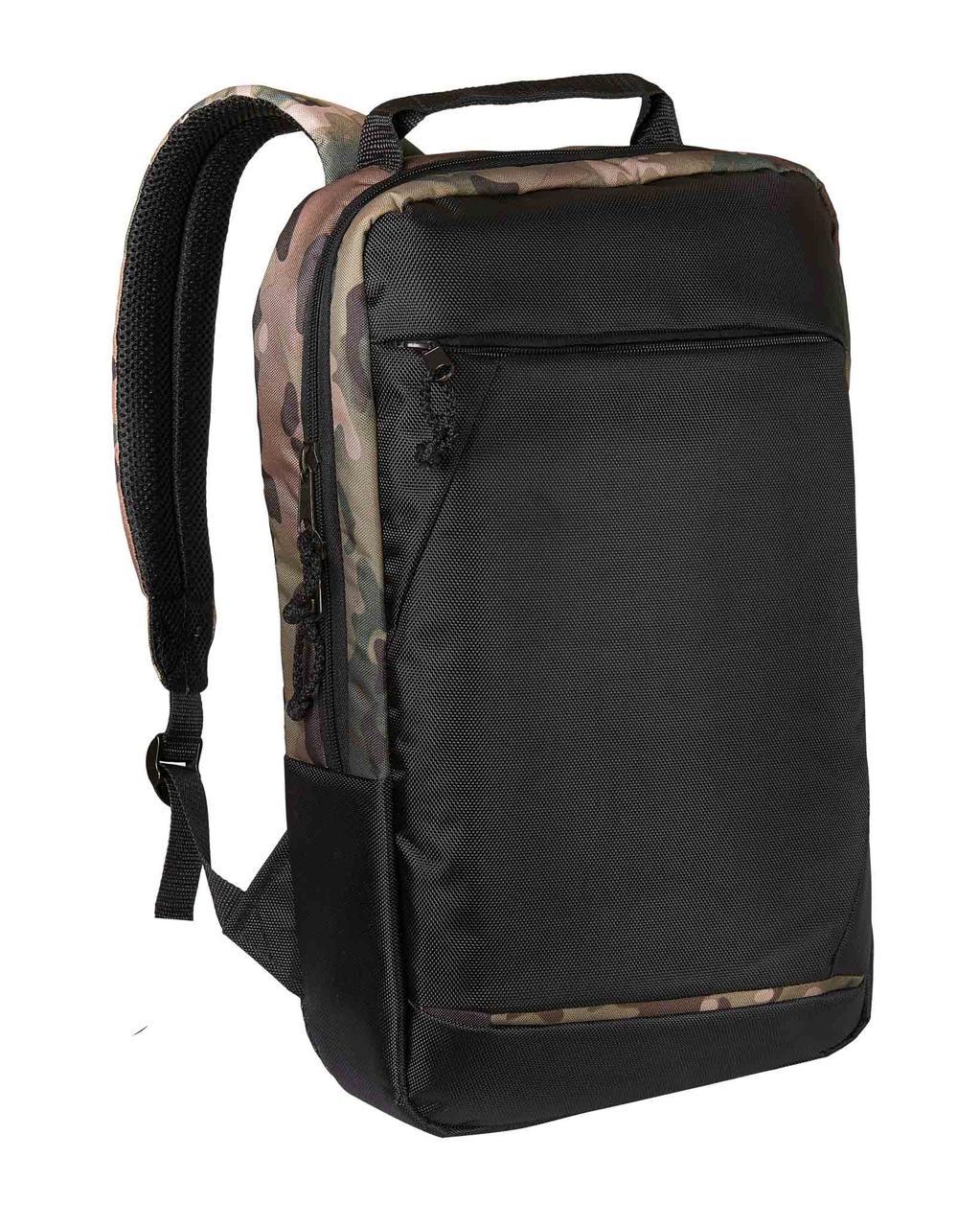 Городской рюкзак для ноутбука черный-камо Surikat 18л. (мужские рюкзак