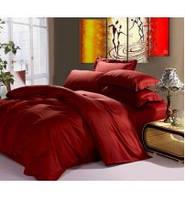 Сатин, ткань для постельного белья, однотонный, бордовый