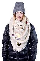 Стильный мягкий и теплый шарф-палантин 130*130 см.