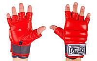 Перчатки боевые Full Contact с эластичным манжетом на липучке Кожа Everlast  (р-р S-XL, красный)