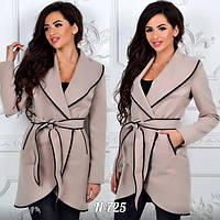 Пальто кашемировое с отделкой кожи