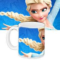 Детская чашка подарок с принтом Эльза Холодное сердце