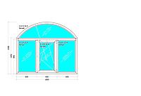 Окно Арочное Трех створчатое Двух камерный стекло пакет профиль Salamander 2D