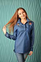 """Блузка-рубашка с вышивкой """"бабочка"""" джинсовая"""