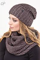 Вязаный женский комплект шапка и шарф-петля, пудра металик