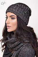 Вязаный женский комплект шапка и шарф-петля, серебро металик