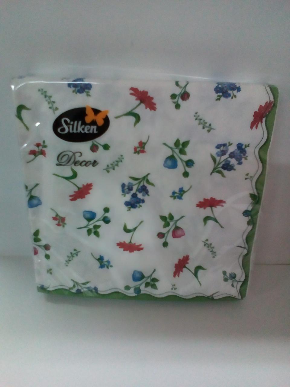 """Салфетка Silken 3-сл, """"Квіти вінтаж"""" с печатью 20шт 33*33см"""