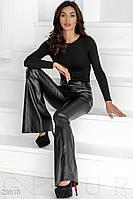 Кожаные брюки-клеш  L XL