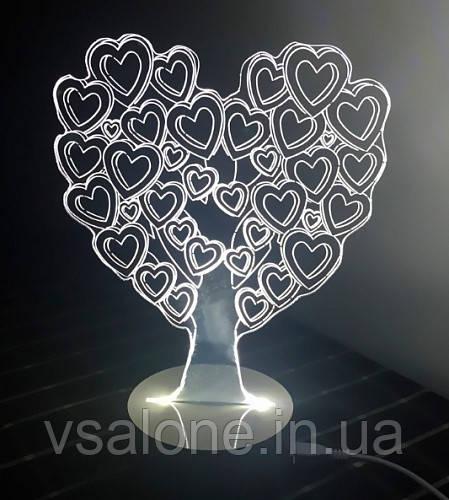 Ночник 3D Светильник в виде Сердца Дерево Любви LoveTree
