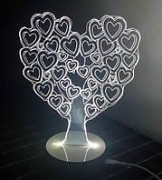 Нічник 3D Світильник у вигляді Серця Дерево Любові LoveTree, фото 1