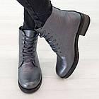 Серые кожаные ботинки 37. 39. женские Woman's heel на шнуровке с молнией, фото 2