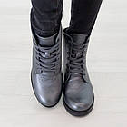 Серые кожаные ботинки 37. 39. женские Woman's heel на шнуровке с молнией, фото 3