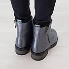 Серые кожаные ботинки 37. 39. женские Woman's heel на шнуровке с молнией, фото 4
