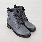 Серые кожаные ботинки 37. 39. женские Woman's heel на шнуровке с молнией, фото 5