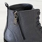 Серые кожаные ботинки 37. 39. женские Woman's heel на шнуровке с молнией, фото 7
