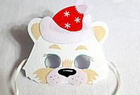 Новогодняя  маска медведя белого