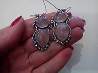 Серьги с нежным розовым кварцем в серебре. Серьги с розовм кварцем, фото 1