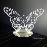 Нічник 3D Світильник у вигляді Метелика, фото 1