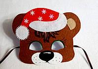Новогодняя  маска медвежонка