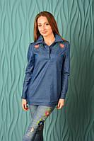 """Блузка-рубашка с вышивкой """"цветок"""" джинсовая"""