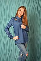 """Блузка-рубашка с вышивкой """"3 бабочки"""" джинсовая"""