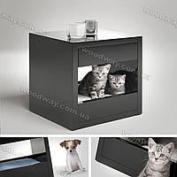 Деревянный домик-тумба для кота, кошки или собаки, черный