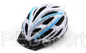Велошлем кросс-кантри с механизмом регулировки ZEL HB31-C (EPS, пластик, PVC, M-55-58, L-58-61, белый-син)
