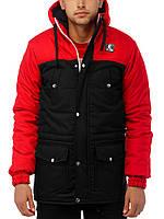 Мужская зимняя парка | куртка Ястреб Wind Proof, черно-красная (есть опт), фото 1