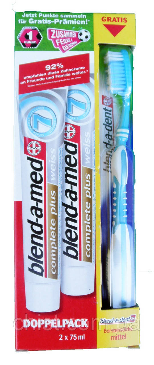 Blend-a-med набор: зубная паста 75 ml 2 шт + зубная щетка Великобритания