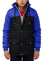 Мужская зимняя парка | куртка Ястреб Wind Proof, черно-cиняя (есть опт), фото 1