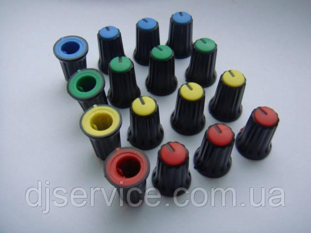 Ручка черная  (цветная) 16.5x12mm потенциометров пульта Phonic, Muzon