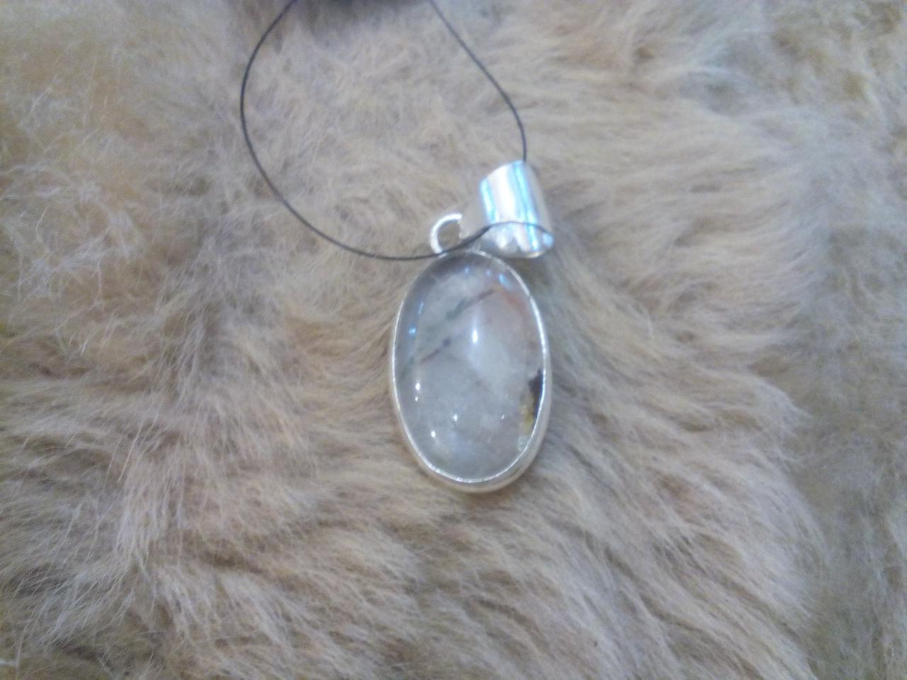 Фантомний кварц кулон з натуральним рутиловим кварцом в сріблі