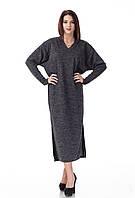 Женское платье оверсайз с вырезом мысом. Модель П094_черная ангора., фото 1