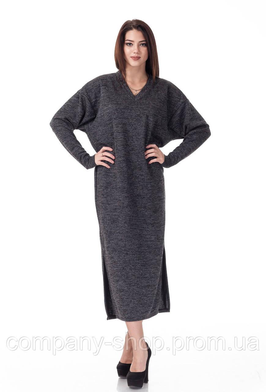 Женское платье оверсайз с вырезом мысом. Модель П094_черная ангора.