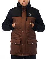 Мужская зимняя парка   куртка Ястреб Wind Proof, черно-коричневая  (есть опт)