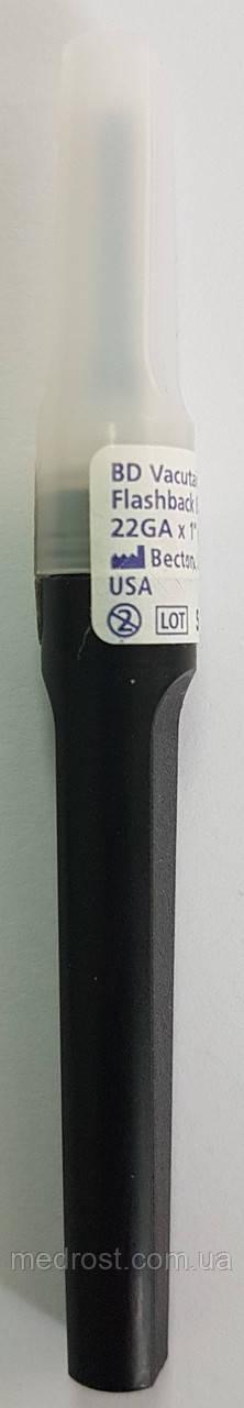 """Иглы для взятия крови с прозрачной камерой BD Vacutainer® FlashBack (FBN) - 22G X 1"""" (0,7х25мм) черный"""