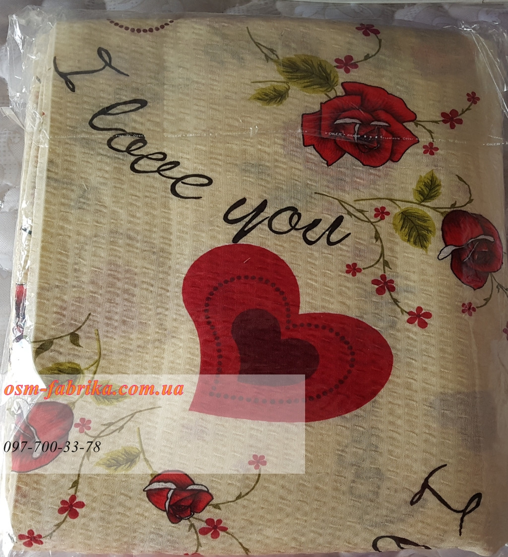 Качественный постельный комплект жатка Тирасполь с принтом сердца