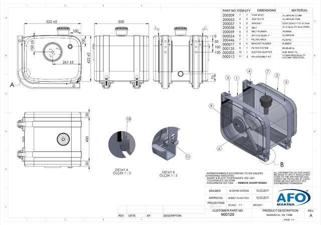 бак бокового крепления на 160 л с параметрами (ВхШхД)40х50х50