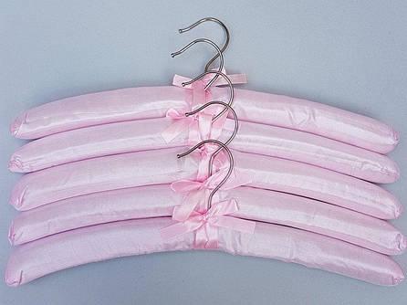 Плечики сатиновые мягкие  розовые, 38 см, 5 штук  в упаковке