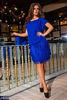 Красивое вечернее синее платье с бахромой. Креп шифон + пайетка + трикотажная подкладка. Арт-12858