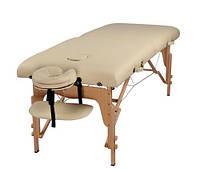 Массажный стол 2-х сегментный, кушетка деревянная, стол для массажа (Светло-бежевый)