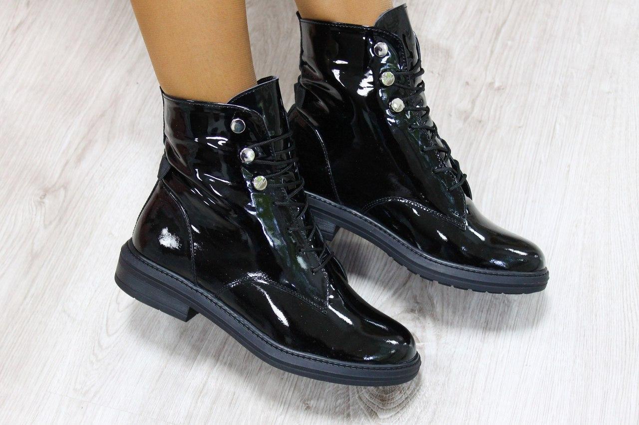 892c0e3454ae Женские зимние ботинки на шнуровке натуральная кожа лак р 39 -