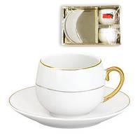 Подарочный кофейный набор MINI Ceram Present золотой фарфоровый в коробке