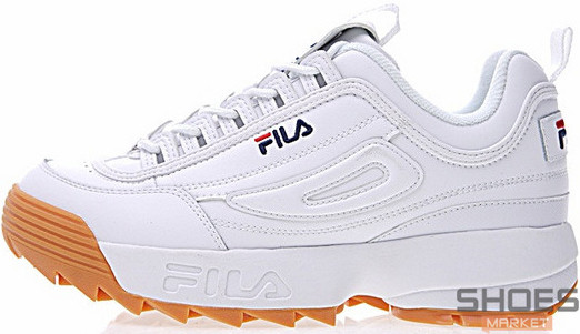 Женские кроссовки Fila Disruptor II White Brown aba9dcf795bb9