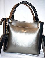 Женская элитная сумка B Elit черная серебристая с черными вставками 26*23