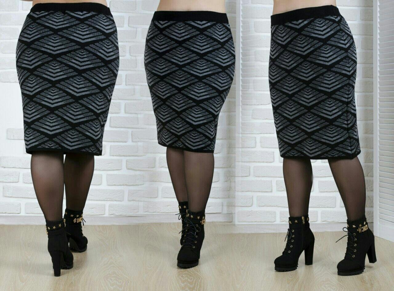 Теплая шерстяная женская юбка плотной вязки